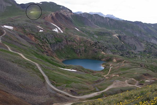 1eb5542aff0 At the summit, looking toward Hurricane Pass (in circle).